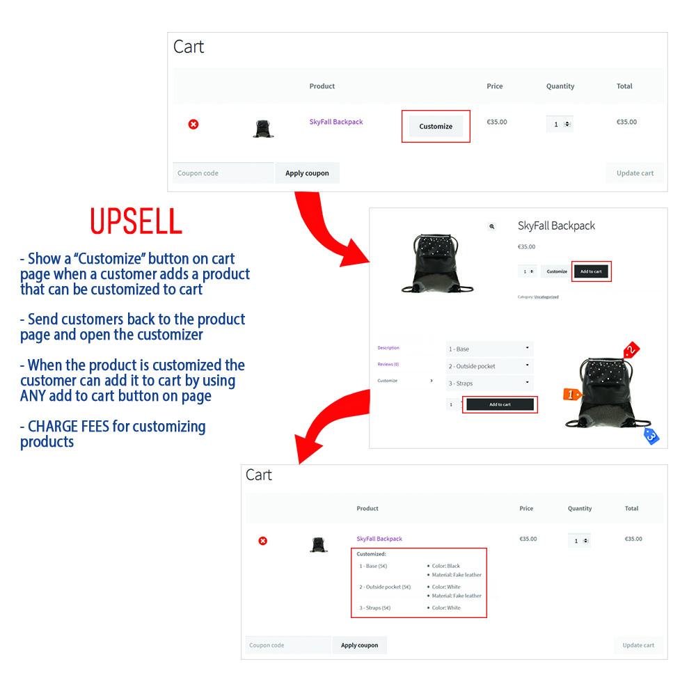 Custom Products for WooCommerce upsell flow