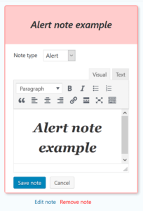 Note form with WordPress editor and note type selector