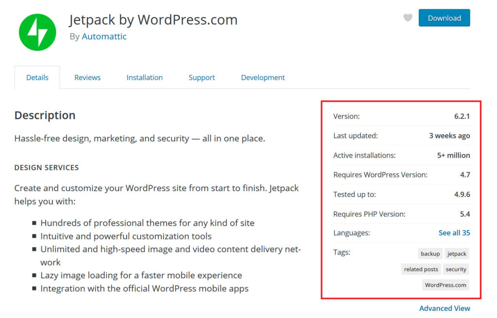 WP plugin repository plugin page example